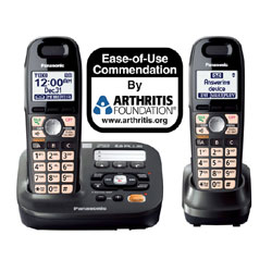 Panasonic DECT 6.0 Plus Expandable Digital Cordless Answering System with Two Handsets