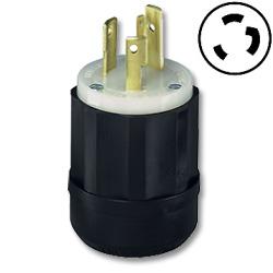 Leviton Black Nylon Industrial Grade Locking Plug