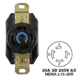 Hubbell AC Receptacle NEMA L15-30 Female Black 250 Volt 30 Amp