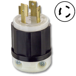 Leviton 30 AMP, 600V, Black Nylon Locking Plug