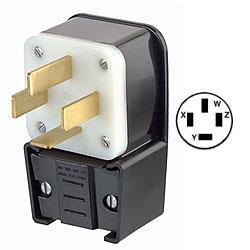 Leviton 60Amp Flush Mount Receptacle Matching Angle Plug