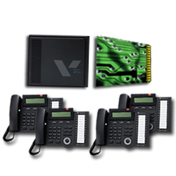 Vertical SBX 6X16 Basic System with 3X8 Expansion Board and  (8) 24-Button Digital Telephones