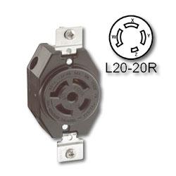 Leviton 20 Amp Flush Mount Locking Receptacle - Industrial Grade 347/600 Volt 3 Phase (Non-Grounding)