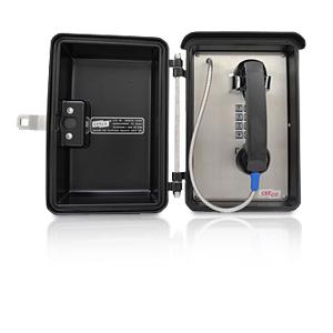 Ceeco Weatherproof Phone with Handset and Locking Push Latch, Black