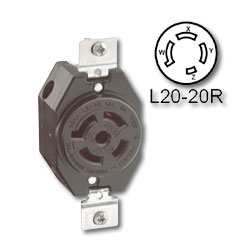 Leviton 20 Amp Flush Mount Locking Receptacle - Industrial Grade 347/600 Volt 3 Phase (Non-Grounding)