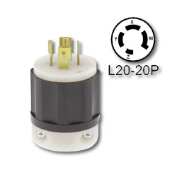 Leviton 20 Amp 3 Phase  Locking Plug - Industrial Grade 347/600 Volt (Non-Grounding)