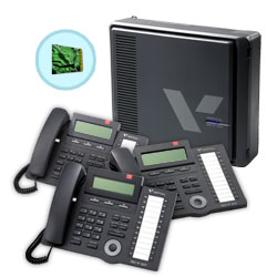 Vertical 3 x 8 Basic KSU with In-Skin Voicemail and (3) 24-Button Digital Phone Bundle