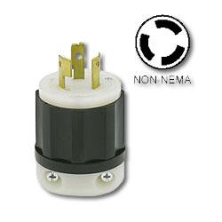 Leviton 20 AMP, 125/250V, Non-Nema Locking Plug