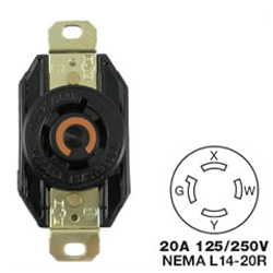 Hubbell AC Receptacle NEMA L14-20 Female Black 125/250 Volt 20 Amp