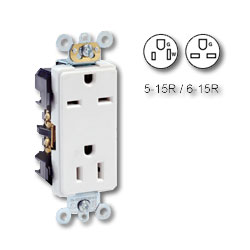 Leviton Back and Side Wired, Self-Grounding 125V/250V Dual Voltage NEMA 5-15R & 6-15R