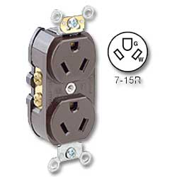 Leviton Back and Side Wired 15Amp 277V AC Grounding
