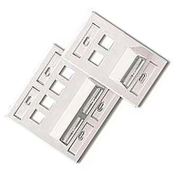 Leviton Angled 4-Port Wallplate with Two Angled Ports