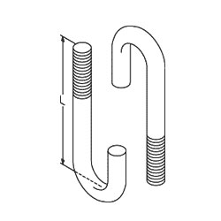 Chatsworth Products 1/4-20 J-Bolts (Hook Bolt, Round Bend), Auxiliary Framing Channel or Bars