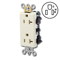 Leviton Decora Receptacle 20 Amp Back and Side Wired NEMA 5-20R