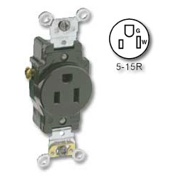 Leviton Side Wired 15A/125v Single Receptacle