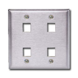 Hubbell 4 Port Double Gang Stainless Steel Faceplate