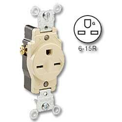 Leviton Side Wired 15Amp 250V Single Receptacle