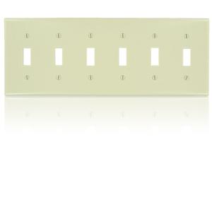 Leviton Standard Size 6-Gang Toggle Switch Wallplate