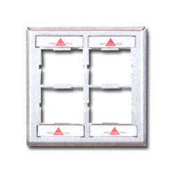 Siemon Double Gang Stainless Steel CT Faceplate for Four Couplers with Labels