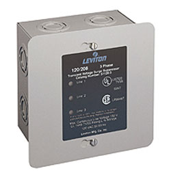 Leviton 120/208V AC, 3-phase WYE. Standard J-Box Metal Enclosure with Pre-Punched Standard Knockouts