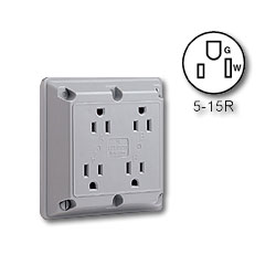 Leviton Four-In-One 2-Pole 3-Wire Grounding 15A/125V Receptacle