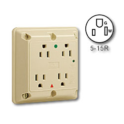 Leviton Hospital Grade/Isolated Ground Surge Protective Four-In-One 15A/125V Receptacle