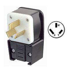 Leviton 50Amp 125/250V Flush Mount Receptacle Matching Angle Plug