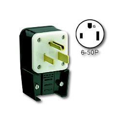 Leviton 50Amp 250V Flush Mount Receptacle Matching Angle Plug