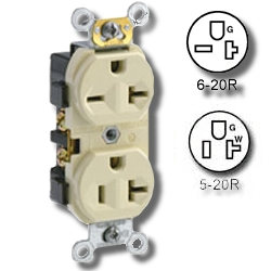 Leviton Dual Voltage Triple Wipe Side Wired 20Amp 125V and 20Amp 250V Grounding