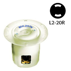 Hubbell NEMA L2-20R Non-Grounding White Twist Lock Flanged Receptacle