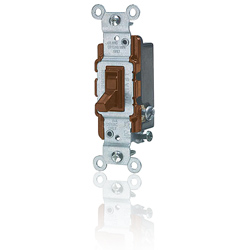 Leviton 15 Amp Framed 3-Way Toggle Quiet Switch with Grounding Screw