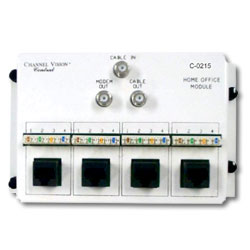 Channel Vision Home Office Module - 2 Way RF and 4 110-RJ45's Splitter