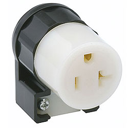 Leviton 15 Amp 250V 2-Pole, 3-Wire Grounding Black  90° Angled Plug