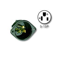Leviton 15Amp 125V 2-Pole 3-Wire NEMA 5-15P Flanged Inlet Receptacle