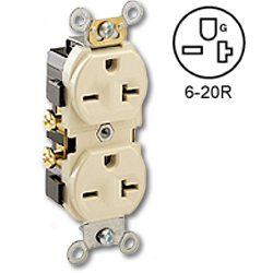 Leviton Side Wired 20Amp 250V Duplex Receptacle