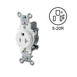 Leviton Narrow Body Single Receptacle 20 Amp, 125 Volt, NEMA 5-20R