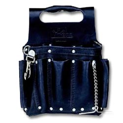 Ideal Black Tuff-Tote Tool Pouch with Shoulder Strap, Premium Leather Model