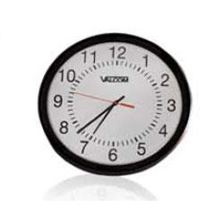Valcom Round Analog Clock, Black, Surface Mount, 110Vac