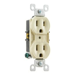 Leviton 8-Hole Quickwire Push-In 15Amp 125V Grounding, Ivory (Package of 10)