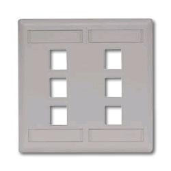 Hubbell IFP Double Gang Wall Plate - 6 Ports