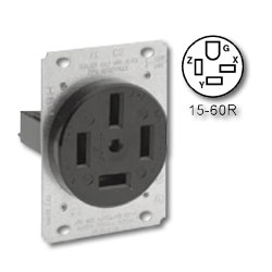 Leviton 60 Amp 250V Grounding Flush Mount receptacle