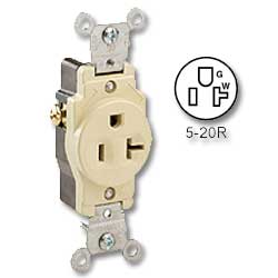 Leviton Side Wired 20 amp 125 volt Single Receptacle