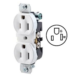 Leviton Duplex Receptacle, Less Plaster Ears, All Screws Backed Out