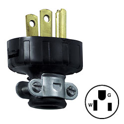 Leviton 15A 125V 2-Pole, 3-Wire Vinyl Handle Plug with Cord Clamp