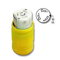 Leviton 50 AMP 125/250V Locking Connector, Yellow Nylon Body and Cord Clamp