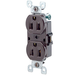 Leviton 8-Hole Quickwire Push-In 15Amp 125V Grounding, Brown (Package of 10)