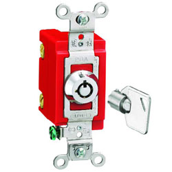 Hubbell Double Pole 20 Amp 120-277 Volt AC Industrial Barrel Key Locking Switch
