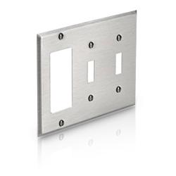 Leviton 3-Gang 2-Toggle 1-Decora/GFCI Device, 302 S/S Combination Wallplate