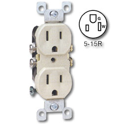 Leviton Duplex Receptacle, All Screws Backed Out, Contractor Pack