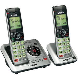 Vtech DECT 6.0 Expandable 2 Handset Cordless Answering System with Caller ID, ITAD, and Speakerphone